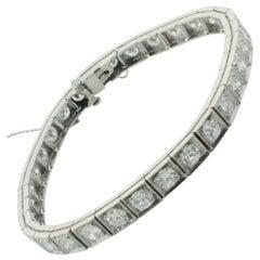 Diamond Tennis Bracelet in White Gold 6.50 Carat, circa 1940s
