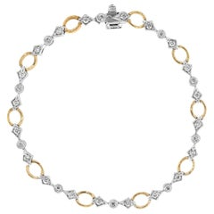 Diamond Tennis Bracelet Two-Tone 14 Karat White Yellow Gold Estate Fine Jewelry