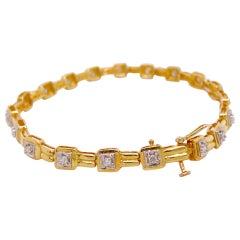Diamond Tennis Bracelet with 19 Diamonds, Yellow Gold with Safety Latch