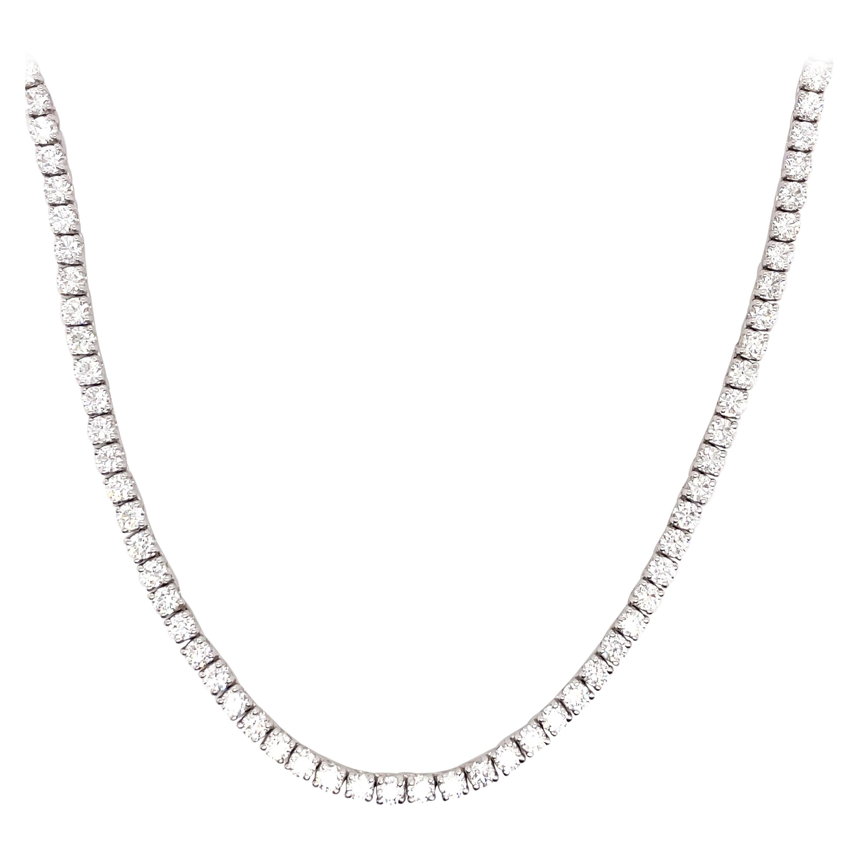 Diamond Tennis Necklace 15.33 Carats 14 Karat White Gold G SI2
