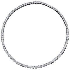 Diamond Tennis Necklace 27.48 Carat 18 Karat White Gold