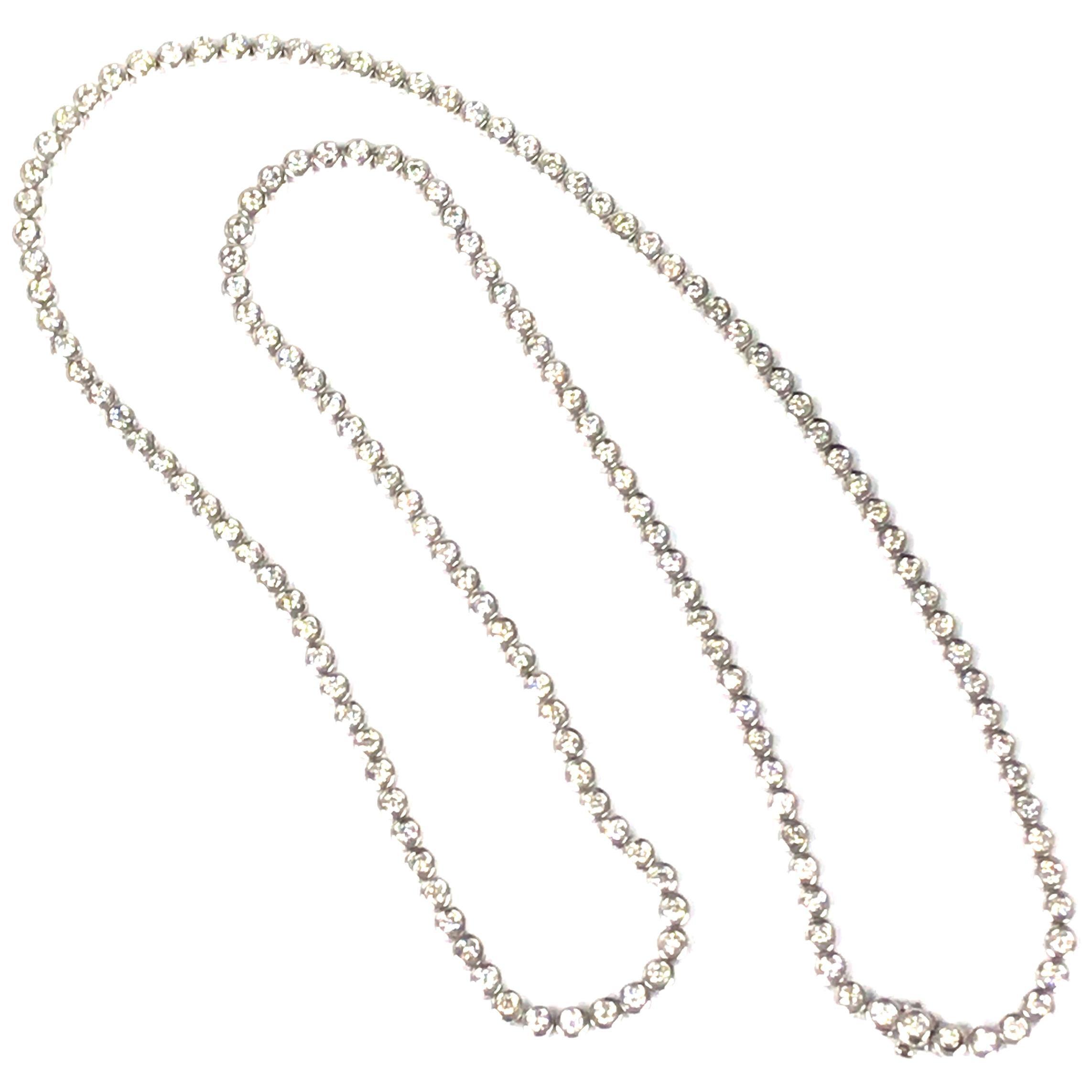 Diamond Tennis Necklace in 14 Karat White Gold