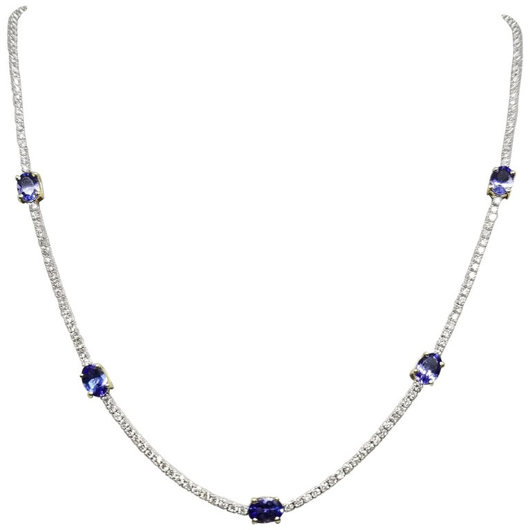 "Diamond ""Tennis"" Necklace with 2.36cts in Diamonds and Tanzanite Set in 2-Tone For Sale"