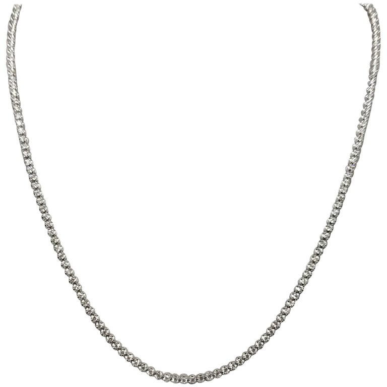 """Diamond """"Tennis"""" Necklace with 5.18 Carat in Diamonds Set in 14 Karat White Gold For Sale"""