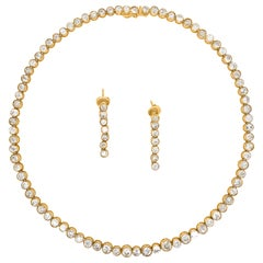 Diamond Tennis Necklace with Matching Earrings