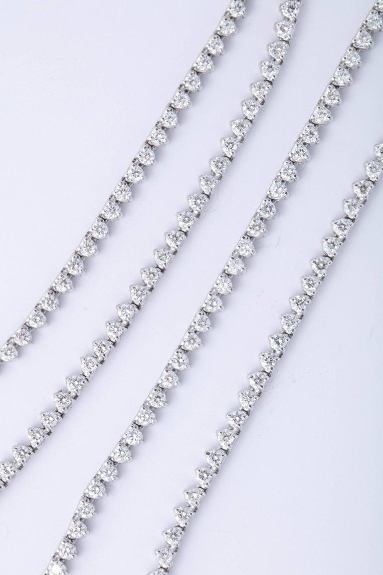 Women's or Men's Diamond Tennis Opera Necklace For Sale