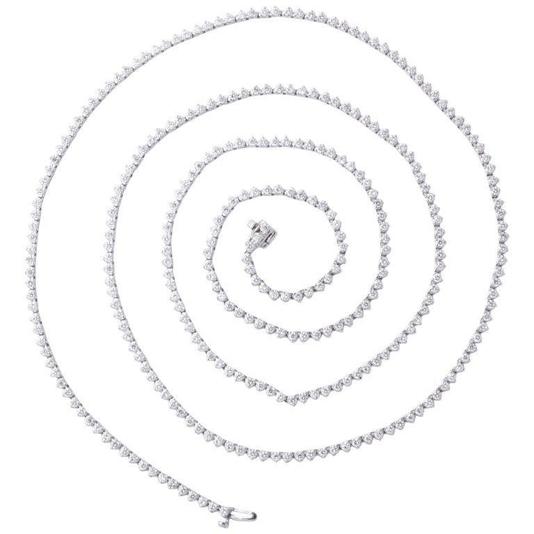 Diamond Tennis Opera Necklace For Sale