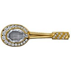 Diamond Tennis Racket Pin/Brooch 18 Karat Yellow Gold with GIA