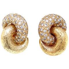 Diamond Textured Yellow Gold Knot Earrings
