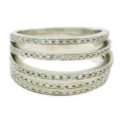 Diamond Three Dimensional Multi Layer Diamond Wide Band Ring