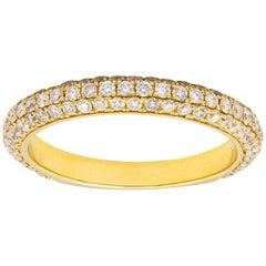 Diamond Three-Row Curved Yellow Gold Band