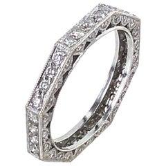 Diamond Three-Sided 18 Karat White Gold Wedding Anniversary Band Ring