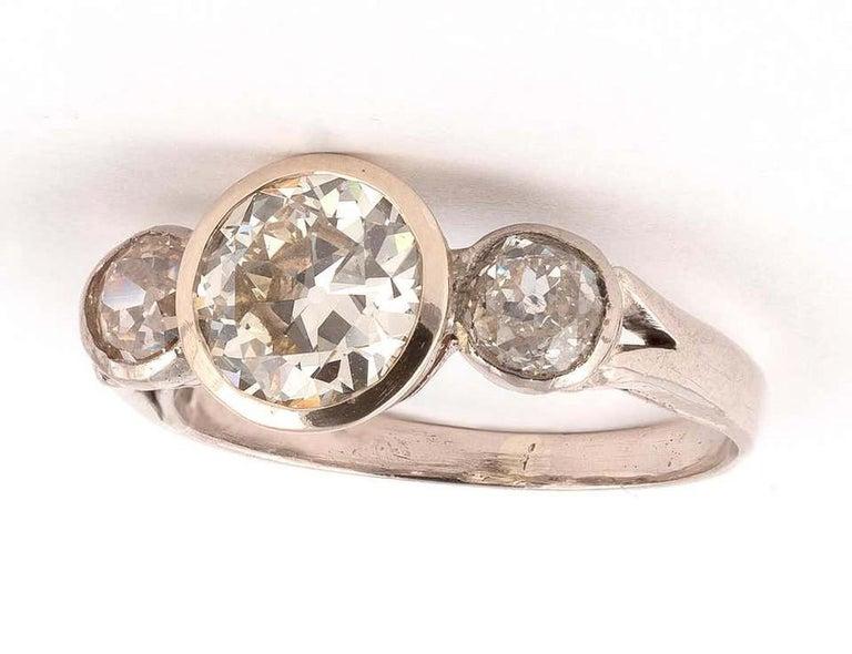 Retro Diamond Three-Stone Ring For Sale