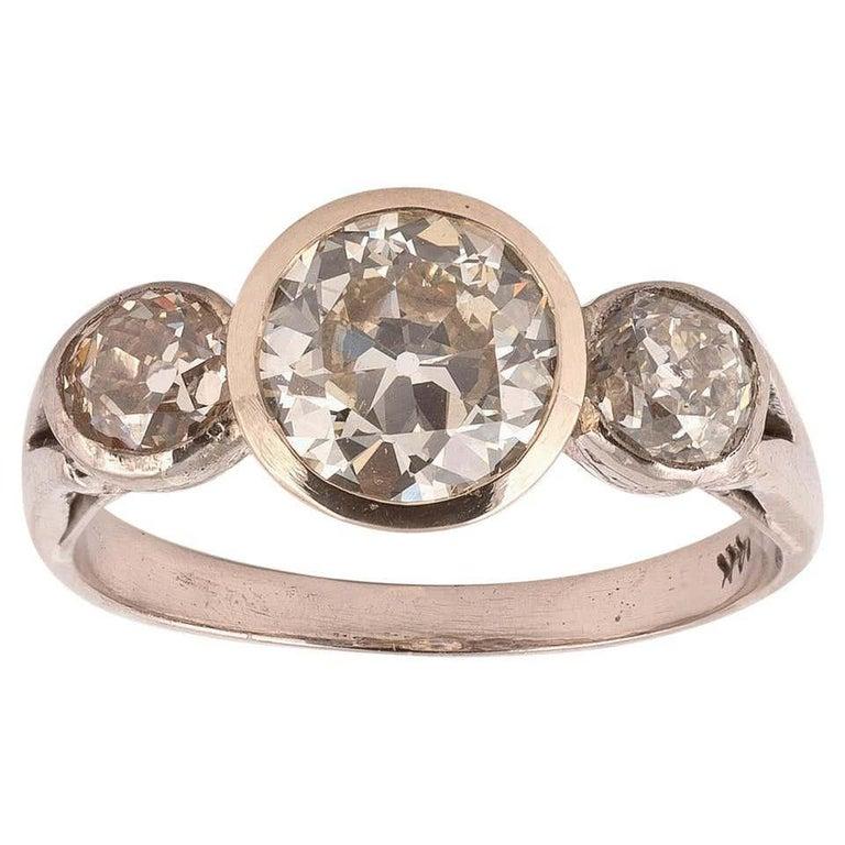 Old European Cut Diamond Three-Stone Ring For Sale
