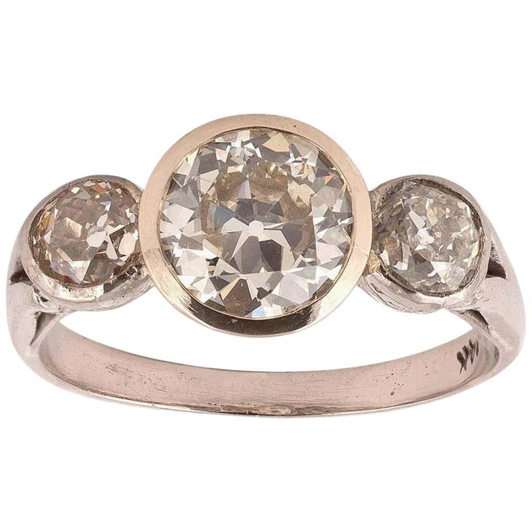 Diamond Three-Stone Ring For Sale
