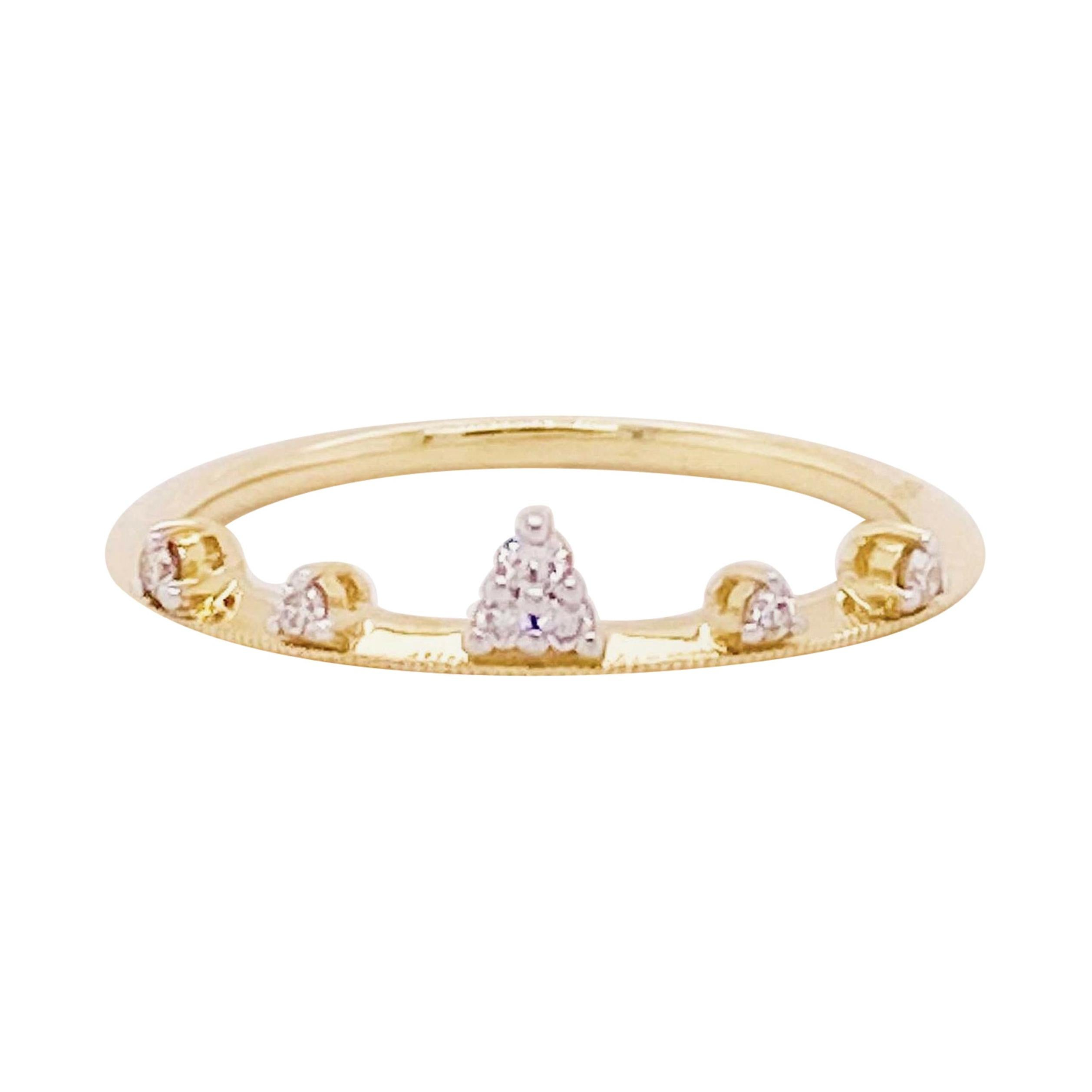 Diamond Tiara Band 14 Karat Yellow Gold Round Diamond Fashion Band Crown Design