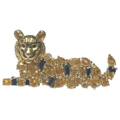 Diamond Tiger Cat Pin Brooch in 18 Karat Yellow Gold 'Mizzou, Auburn'