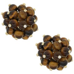 Diamond Tiger's Eye Bead Cluster Earrings