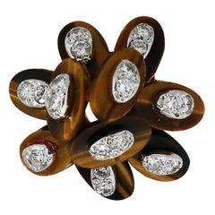 Diamond Tigers Eye Flower Style Ring