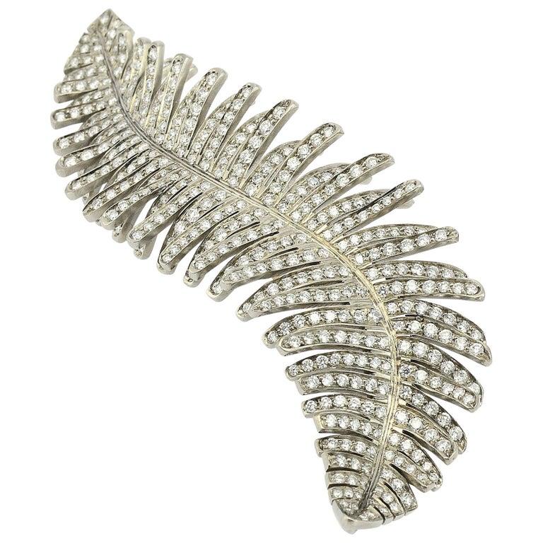Diamond Titanium 18 Karat Gold Made in Italy Brooch For Sale