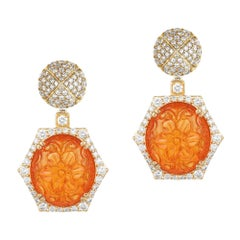Diamond Top and Carved Mandarin Garnet Earrings