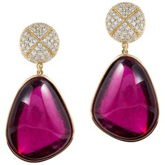 Goshwara Diamond Top and Rubelite Tumble Bezel Set Earrings