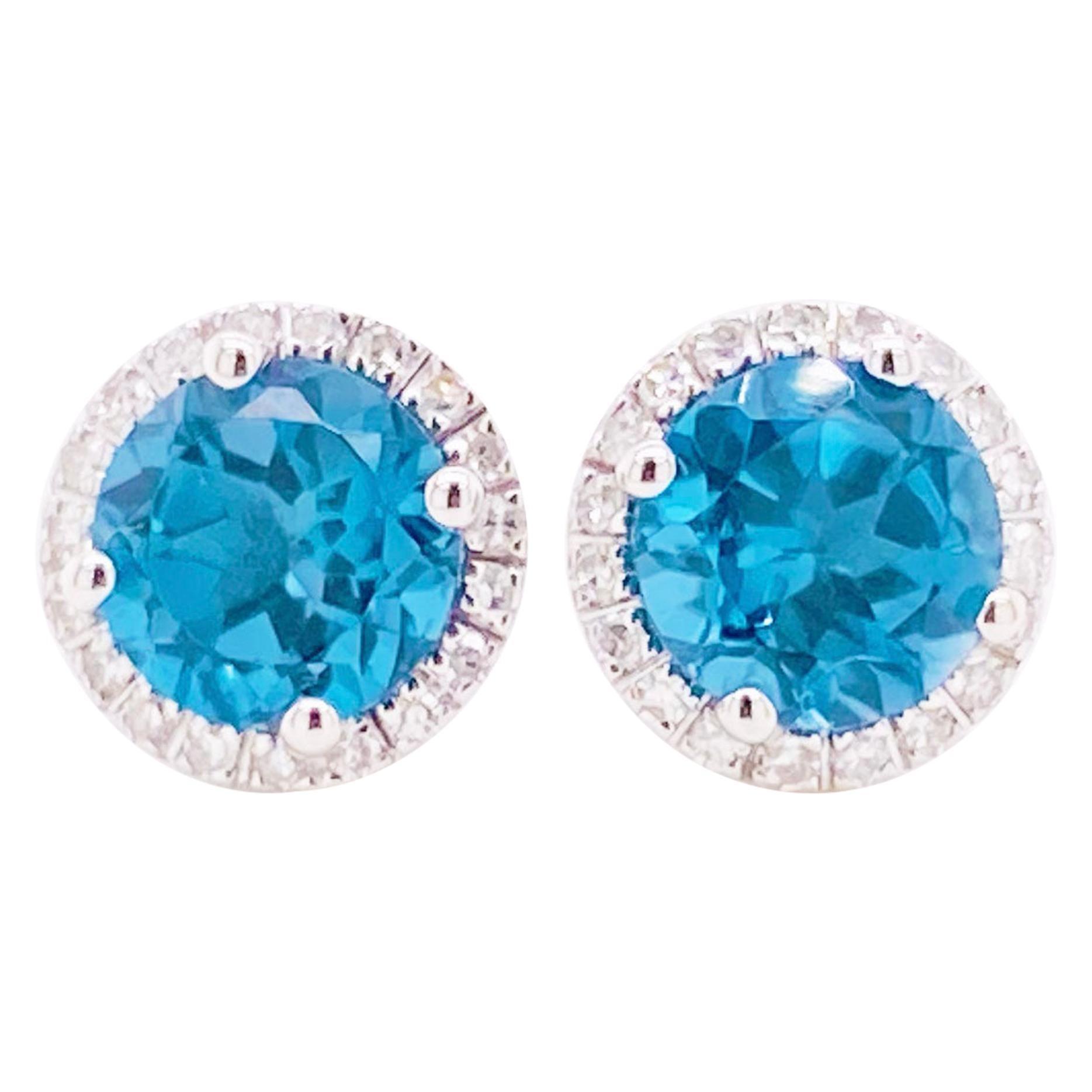 Diamond Topaz Earrings, London Blue Topaz Diamond Halo, 14K Gold 2 Carat Studs