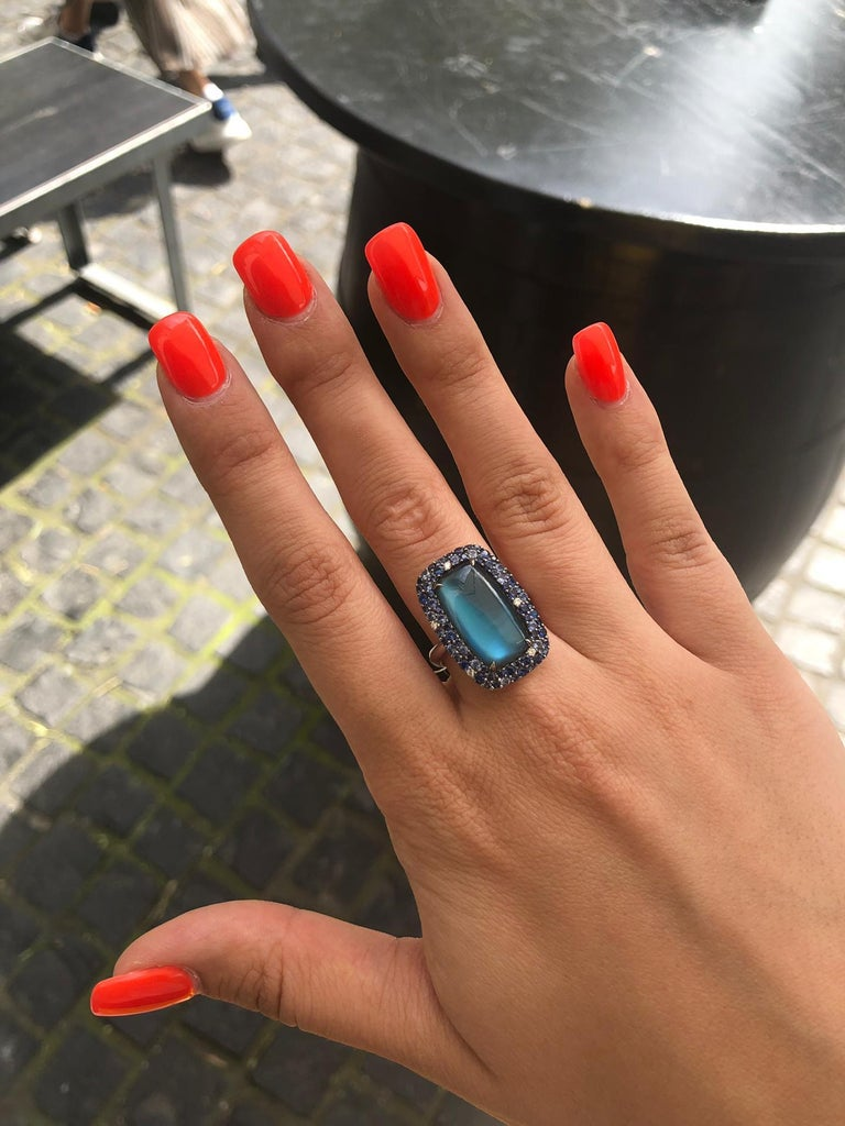 Emerald Cut Diamond Topaz Sapphire Mother of Pearl White Gold 18 Karat Ring For Sale