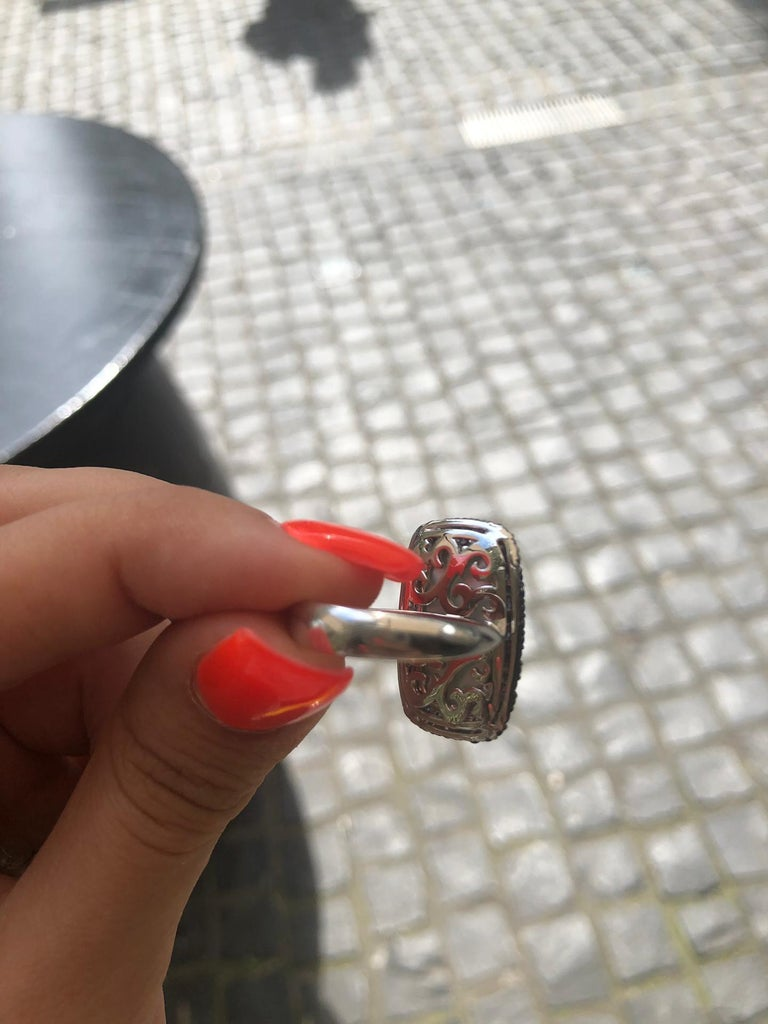 Diamond Topaz Sapphire Mother of Pearl White Gold 18 Karat Ring For Sale 1