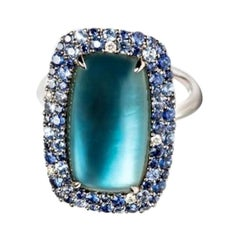 Diamond Topaz Sapphire Mother of Pearl White Gold 18 Karat Ring