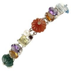 Diamond Tormaline Citrine Amethyst Topaz Carnelian Agate Pearls Bracelet