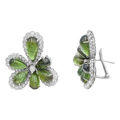 Diamond Tourmaline Fancy Flower 18 Karat White Gold Earrings