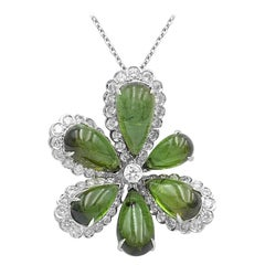 Diamond Tourmaline Fancy Flower 18 Karat White Gold Necklace