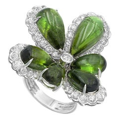 Diamond Tourmaline Fancy Flower 18 Karat White Gold Ring
