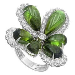 Diamond Tourmaline Fancy Flower White Gold Set