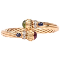 Diamond Tourmaline Peridot Twisted Gold Cuff Bracelet