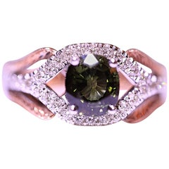 Diamond Tourmaline Rose Gold Yellow Gold Right Hand Fashion Ring