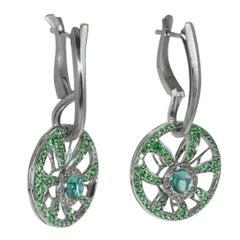 Diamond Tourmaline Tsavorite 18 Karat White Gold Earrings