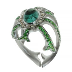 Diamond Tourmaline Tsavorite 18 Karat White Gold Ring