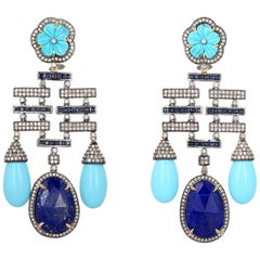 Diamond, Tourquoise, Lapislazuli Drop Earrings in 18 Karat Gold and Silver