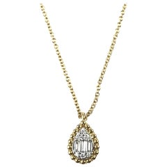Diamond Town 0.10 Carat Baguette and Round Dia Pendant in Yellow and White Gold