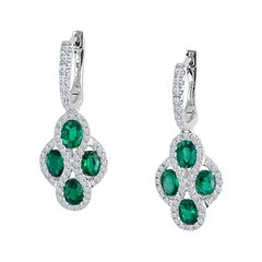 Diamond Town 1.23 Carat Fine Emerald and Diamond Earrings in 18 Karat White Gold