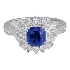 Diamond Town 1.6 Carat Cushion Cut Sapphire and 0.63 Carat Diamond Ring