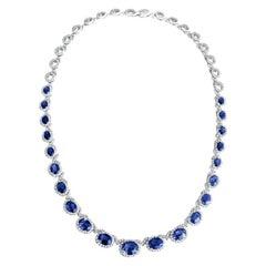 Diamond Town 19.34 Ct Vivid Blue Oval Cut Sapphire and 5.65 Ct Diamond Necklace