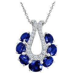 Diamond Town 2.08 Carat Oval Cut Blue Sapphire and Diamond Pendant