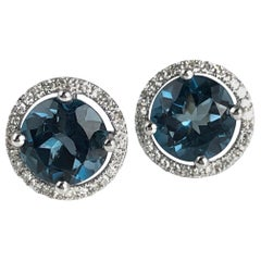 Diamond Town 3.58 Carat London Blue Topaz Halo Stud Earrings in 14 Karat Gold