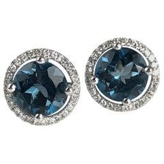 Diamond Town 3.58 Carat London Blue Topaz Halo Stud Earrings in 14 Karat Gold