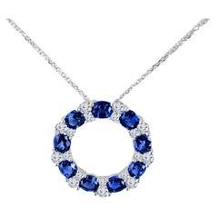 Diamond Town 3.82 Carat Blue Sapphire and Diamond Pendant in 18 Karat White Gold