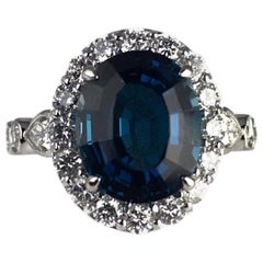 Diamond Town 5.35 Carat Blue Topaz and 1.32 Carat Diamond Ring in 14 Karat Gold