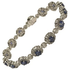 Diamond Town 5.76 Carat Round Blue Sapphire and 3.54 Carat Diamond Bracelet